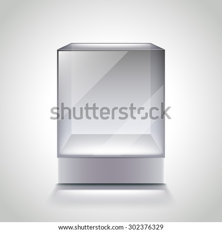 Empty glass cube showcase for exhibition photo realistic vector - stock vector