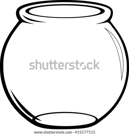 empty glass fish bowl - stock vector
