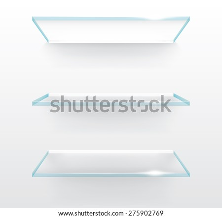 Empty glass shelves on wall, vector