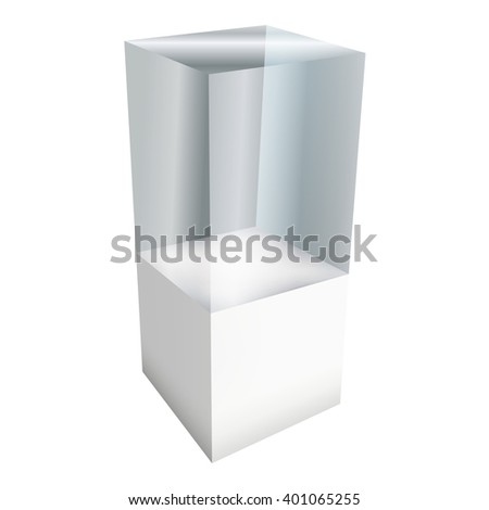 Empty glass showcase for exhibit. 3D Vector illustration isolated on white background. Trade show booth white and blank pedestal with glass box for expo design.  - stock vector