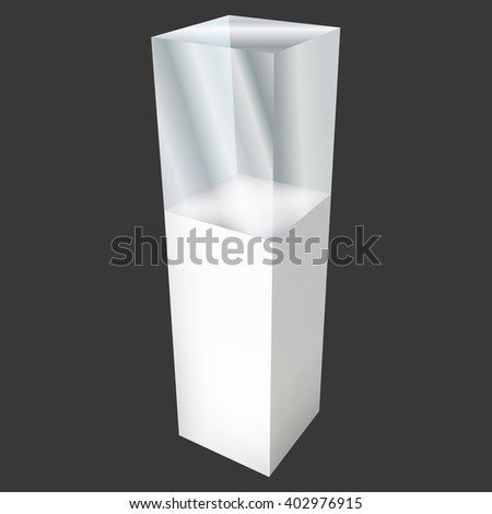 Empty glass showcase for exhibit. 3D Vector illustration on black background. Trade show booth white and blank pedestal with glass box for expo design.  - stock vector