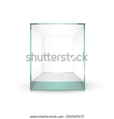 Empty glass showcase for exhibit vector - stock vector