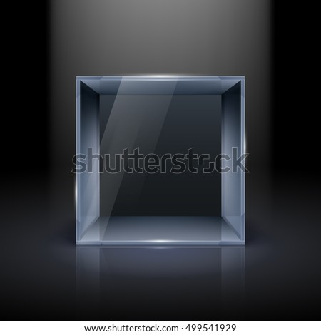 Empty Glass Showcase in Cube Form for Presentation