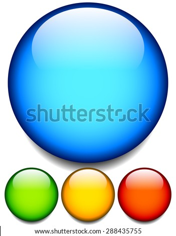 Empty glossy balls, circle button, icon backgrounds. 4 colors. Editable vector. - stock vector