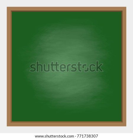 Empty Green Chalkboard Background With Frame Vector Illustration For Education And School Design