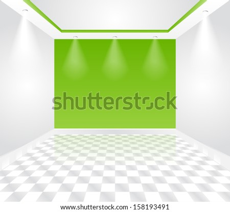 Empty Green Room - Modern office interior - stock vector