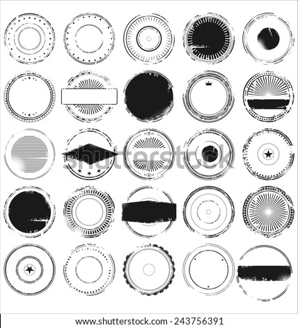 Empty grunge rubber stamp collection - stock vector
