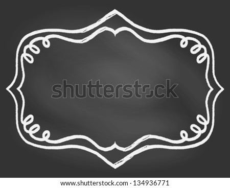 Empty hand drawn vintage curly frame on blackboard, vector illustration, restaurant or cafe menu, invitation card. Concept image for coffeehouse, cafe, coffee or tea shop, back to school ad. - stock vector