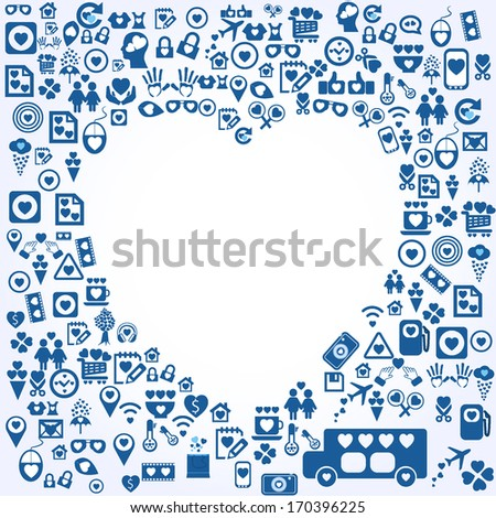 Empty heart on icon background  - stock vector