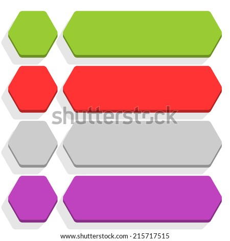 Empty hexagon and rounded rectangle icon with long gray shadow on white background in simple flat style. Set 02 green, red, gray, violet colors button. Vector illustration web design element in 8 eps - stock vector
