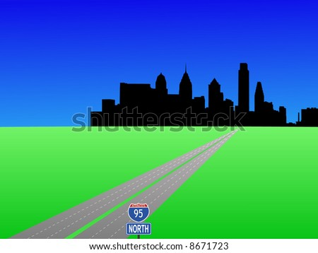empty highway leading to Philadelphia skyline illustration