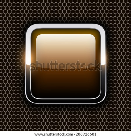 Empty icon with chrome metal frame, Rounded square golden button with hexagon texture background, vector illustration. - stock vector