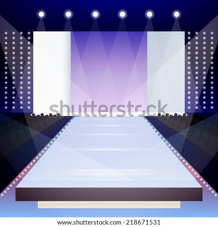 Empty illuminated fashion runway scene designer presentation poster vector illustration - stock vector