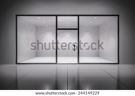 Empty illuminated store exposition interior realistic background vector illustration - stock vector