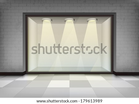 empty illuminated storefront vitrine vector concept illustration - stock vector