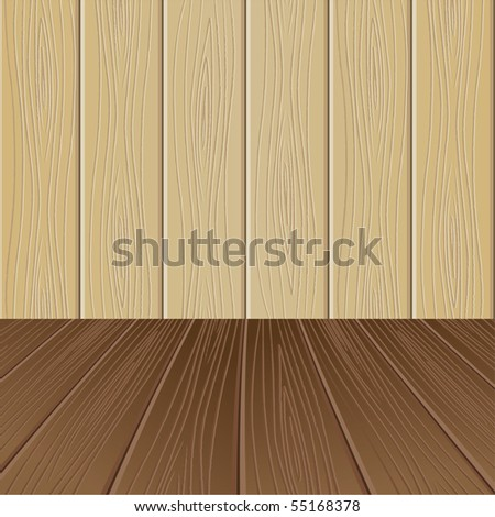 Empty interior for projects. Wooden structure. Vector illustration - stock vector