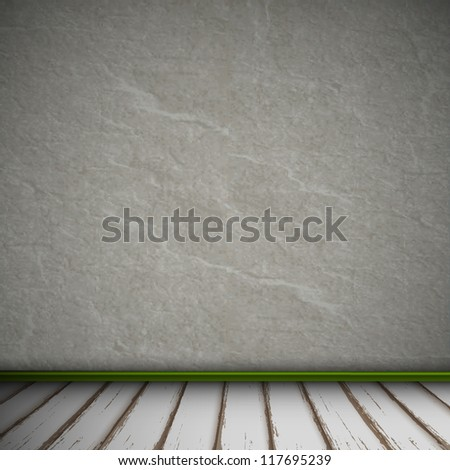 Empty Interior of vintage room with gray stone wall and old wood floor. Vector eps10 - stock vector