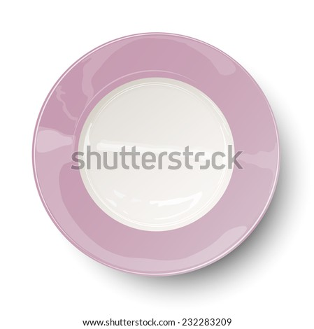 Empty light rosy plate with reflections isolated on white background - stock vector