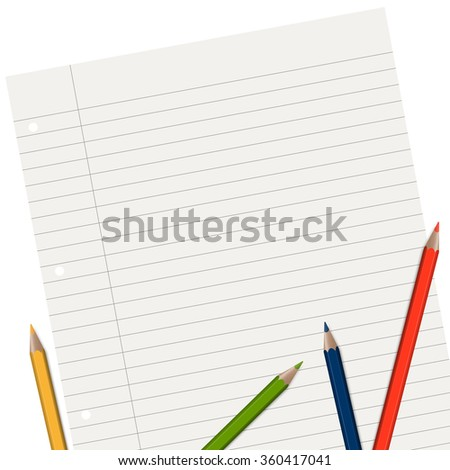 empty lined paper with different colored pencils - stock vector