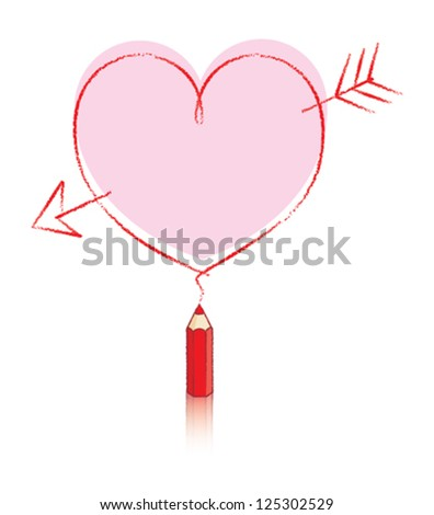 Empty Love Heart Message Drawn by Small Red Pencil with Reflection and Big Pink Heart - stock vector