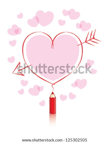 Empty Love Heart Message Drawn by Small Red Pencil with Reflection and Pink Hearts Background - stock vector