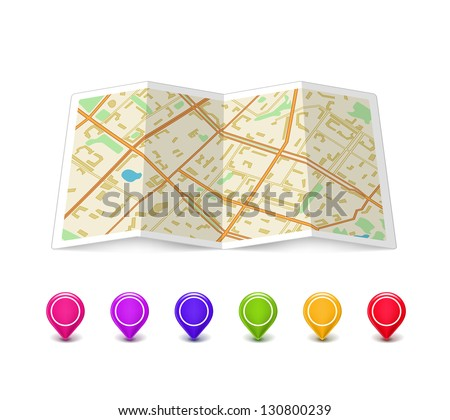 Empty Map icon with multicolored Pin Pointers isolated on white. Vector Illustration - stock vector