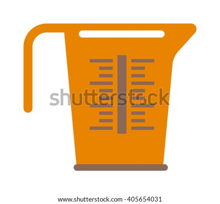 Empty measuring cup glass cooking liquid utensil measurement kitchen tool vector illustration. Measure cup kitchen tool and handle container measure cup. Kitchenware water measure cup. - stock vector