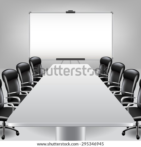 Empty meeting room and presentation board photo realistic vector background - stock vector