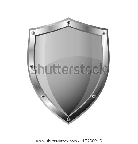 Empty metal shield - stock vector