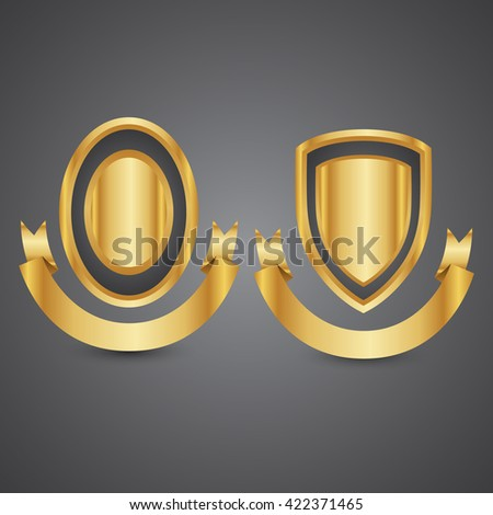 Empty metal shield with gold ribbon on isolated background - stock vector