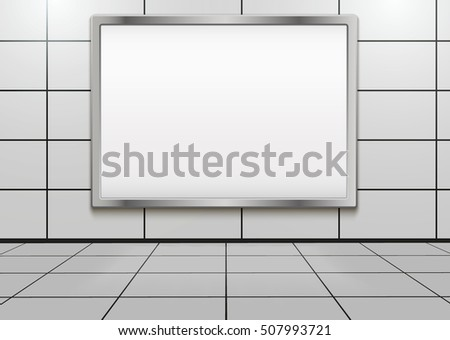 Empty mock-up big billboard inside metro or subway. Vector Illustration isolated on white background.