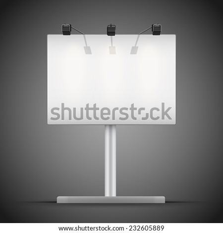 Empty mockup billboard with spotlights and illuminated at night. A4 format. Vector Illustration isolated on background. - stock vector