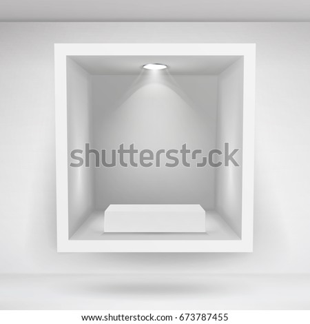 Empty Niche Vector. Realistic Clean Shelf, Niche, Wall Showcase. Good For Presentations, Display Your Product. Illuminated Light Lamp
