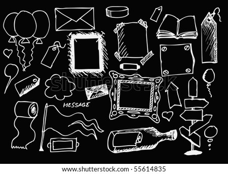 empty objects hand drawn - stock vector
