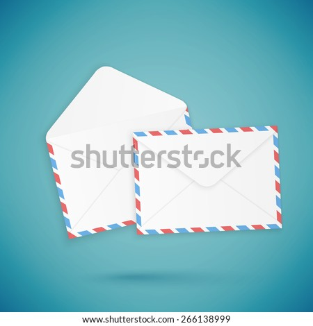 Empty open and close envelopes, vector illustration - stock vector