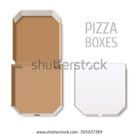 Empty open and closed pizza boxes  - stock vector