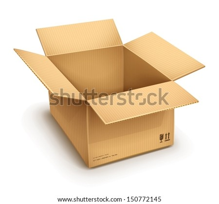 empty open cardboard box isolated on transparent white background - eps10 vector illustration - stock vector