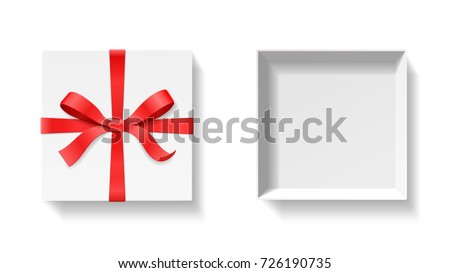 Empty open gift box red color stock vector 726190735 shutterstock empty open gift box with red color bow knot ribbon isolated on white background negle Images