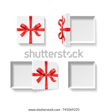 Empty open gift box red color stock vector 745069225 shutterstock empty open gift box with red color bow knot ribbon isolated on white background negle Images