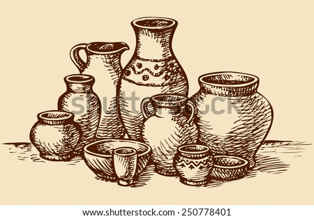 Empty painted clay pots for water, oil, milk or wine of different size and shape in market for sale at. Vector monochrome freehand sketchy linear ink drawn picture in antiquity style of book engraving - stock vector