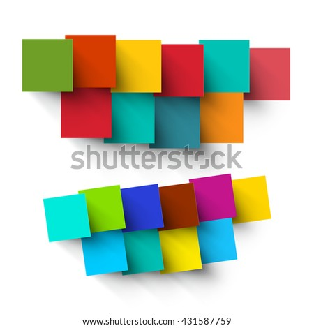 Empty Paper Cut Colorful Vector Square Pieces