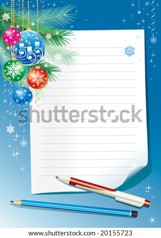 Empty paper for christmas greeting - stock vector