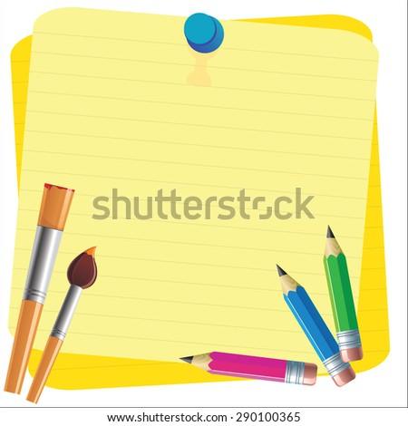 Empty paper sheet and lined notepad and pencil for attaching paper Vector EPS10 - stock vector
