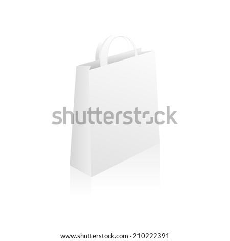 Empty Paper Shopping Bag isolated on white background for advertising and branding