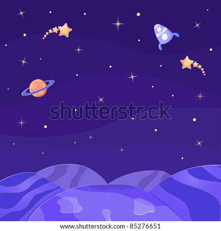 Empty Planet in Open Space. Vector Illustration - stock vector