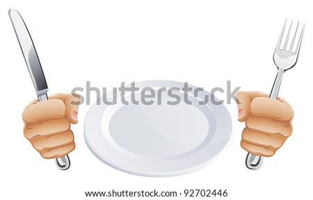 Empty plate and hands holding knife and fork cutlery - stock vector