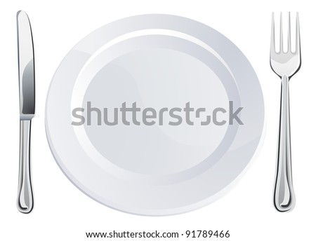 Empty plate and knife and fork cutlery place setting  sc 1 st  Shutterstock & Empty Plate Knife Fork Cutlery Place Stock Photo (Photo Vector ...