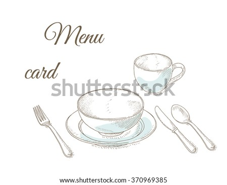 Empty plate, fork and knife. Tableware. Dinner party. Restaurant menu cover card. Dishes set. Dinnerware: plate, cup, bowl, spoon, fork, knife. Kitchenware and cutlery hand dawn illustration. - stock vector