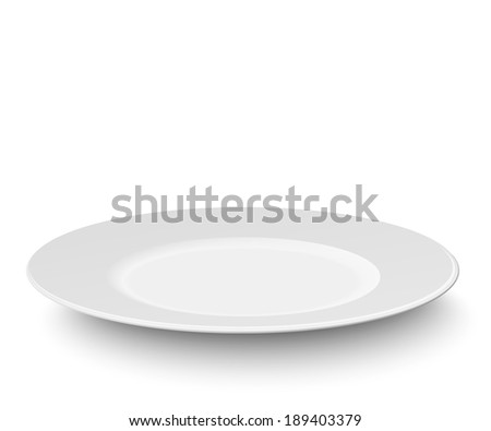Empty plate isolated on white background - stock vector