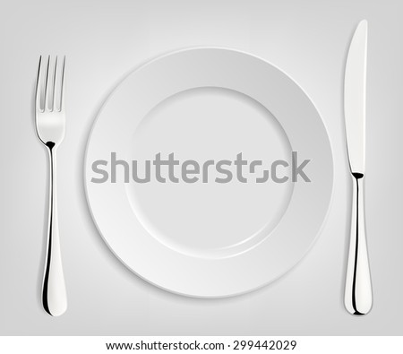 Empty plate with knife and fork isolated on white. Vector EPS10 illustration.